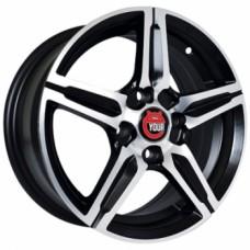 Ё-wheels E24 5,5х14 PCD:4x100  ET:45 DIA:67.1 цвет:MBF (черный,полировка)